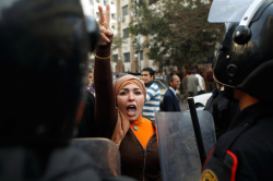 Woman protestor in Tahrir square, Cairo