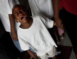 Boy Mourning After Hurricane Katrina