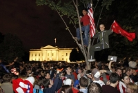 celebration outside of White House on news of bin Laden's death
